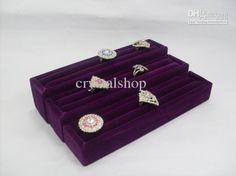 Wholesale Free Shipping Fashion Set Of 3 Purple Velvet Ring Jewelry Display Holder Case Box Tray, Free shipping, $16.19/Set | DHgate Mobile