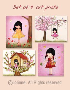 Children's Wall Art  girls room decor pink nursery art by jolinne