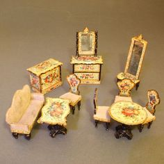 Opulent German Wooden Furnishings with Lithographed Floral Design from belle-epoque-dolls on Ruby Lane