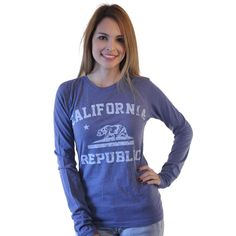 Three For Twelve California Republic Junior's Blue T-shirt. A blue long sleeve Junior�s T-shirt, crew neck with a white lettering California Republic Logo on the front
