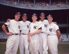 Members of the New York Yankees pose together, Sept. 5, 1957. From left, Hank Bauer, Elston Howard, Mickey Mantle, Harry Simpson and Enos Slaughter. (AP Photo) Go Yankees, New York Yankees Baseball, Elston Howard, Hank Bauer, Curtis Granderson, Best Baseball Player, The Mick, Mlb, Jackie Robinson