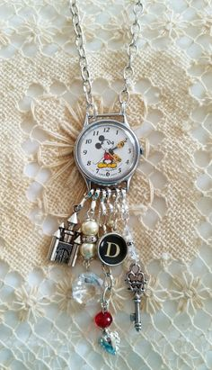 Vintage Mickey Mouse Watch Necklace, Mickey Mouse Charm Necklace, Walt Disney Watch, D Typewriter Key, 24 Inch Chain, Walt Disney Necklace by FunkyTypes on Etsy