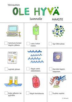 Luonto - Värinautit Learn Finnish, Finnish Language, Diy Recycle, Recycling, Joko, Sustainable Development, Nature Crafts, Pre School, Finland
