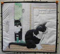 """""""My Cats"""" by Ruth Robinson. Mountain Art Quilters: February 2012 Lots of great quilts. Quilt Stitching, Applique Quilts, Quilting Projects, Quilting Designs, Cat Quilt Patterns, Gatos Cats, Animal Quilts, Thread Painting, Mountain Art"""