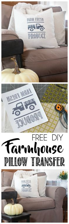 FREE Farmhouse Pillow Transfer, Download and Tutorial Included