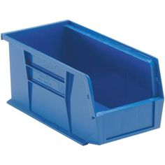 Quantum Storage Systems Ultra Series Stack and Hang Gal. Storage Bin in Blue - The Home Depot Stackable Plastic Storage Bins, Stacking Bins, Plastic Bins, Storage Organization, Storage Spaces, Storage Systems, Organizing, Bin Storage, Garage Storage