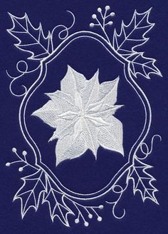 White Christmas Poinsettia in Holly Frame-11/9/15