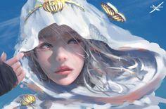 As lindas mulheres orientais nas ilustrações de fantasia de Wang Ling
