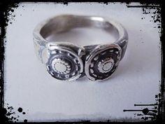 Atlantis Circles Artisan Silver ring size 5.5 Aged by Deesses