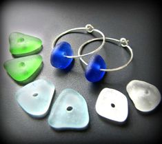 Sea Glass Jewelry Hoop Earrings - Four Pairs of Drilled Seaglass, Sterling Silver, w/Blue, Green, White & Aqua - 8 pieces total. Jewellery - THE SEA GLASS: This kitchen sink set includes four pairs of sea glass which is 8 pieces total! Sea Glass Crafts, Sea Glass Art, Sea Glass Jewelry, Seashell Jewelry, Stained Glass, Custom Jewelry, Diy Jewelry, Handmade Jewelry, Jewelry Making
