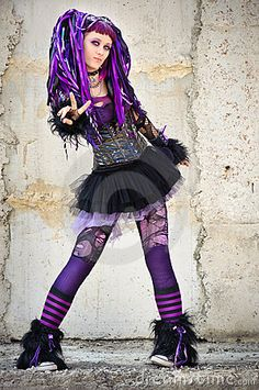 industrial goth WOMAN | Cyber gothic girl in the industrial environment