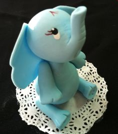 Elephant Cake Topper made of Cold Porcelain Great for Elephant themes Baby Showers and Birthdays, great for Jungle Birthday, Centerpieces, Diaper Cakes, Favors and Cakes Decorations Approx 4.'' Elepha