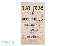 tattoo business cards, vintage business cards