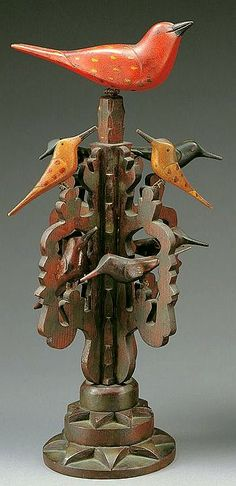 Bird Tree Artist unidentified - Pennsylvania Late 19th century. - Paint on wood with wire.