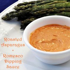 Roasted Asparagus with Dairy-Free Romesco Dipping Sauce (vegan, too!)