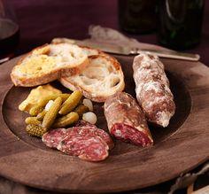 Charcuterie Board With Olli Salame, Cornichons, Mustard   Lot18