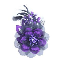 Womens Elegant Pin Brooches Hair Decor Feather And Cloth Flower Brooches Purple >>> You can find out more details at the link of the image.(This is an Amazon affiliate link and I receive a commission for the sales)