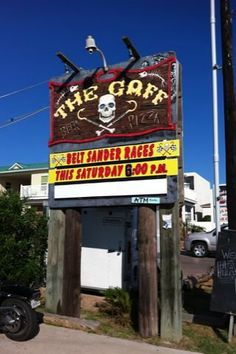 The Gaff in Port Aransas TX  Toaster oven pizzas & chips.  Open air bar with big back yard.