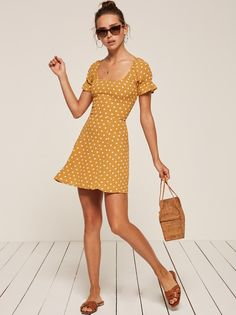 Arlene yellow puffy sleeve mini dress Reformation