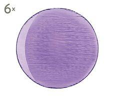 Set de 6 platos llanos de vidrio Scratch, lila - Ø27,5 cm
