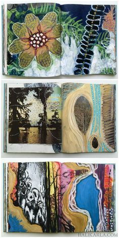 Visual Journal Art - altered book pages — Hali Karla Arts altered book art journal pages by Hali Kar Artist Journal, Art Journal Pages, Art Pages, Art Journals, Visual Journals, Altered Books Pages, Altered Book Art, Up Book, This Is A Book