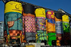 Silos at Granville Island. Thank you to the Brazilian artists who created this!