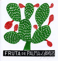 Fruta de Palma   José Francisco Borges (Brazil),  Woodcut print on paper (7 1/2 x 7 1/4), 2007, 2009, 2011