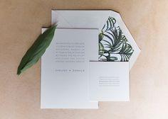 Tropical and modern wedding invitation.