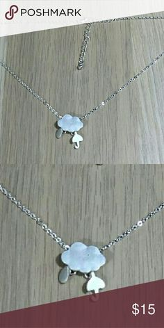 Silver Rain Cloud Necklace with Umbrella Silver chain with raincloud. Dangle raindrop and  umbrella charms. ModCloth Jewelry Necklaces