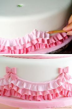 Love the bows and rope look to finish off the ruffles  How to make fondant ruffles. Pretty for a little girls cake.