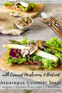 Vegan Gourmet Toast with Red Beet & Mushrooms - Ve Eat Cook Bake Vegan Sandwich Recipes, Vegan Dinner Recipes, Vegan Breakfast Recipes, Vegan Dinners, Vegan Recipes Easy, Lunch Recipes, Whole Food Recipes, Salad Recipes, Free Recipes