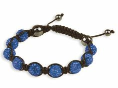 Shamballa bracelet with blue crystal glitter ball and hematite semi - precious gemstone Mix and match colours to create your own look Material