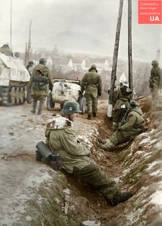"Tagged with art, history, world war nazis, colorization; Waffen SS troops (possibly SS-Panzer-Division ""Totenkopf"") German Soldiers Ww2, German Army, Crimean War, Germany Ww2, German Uniforms, War Photography, Vietnam War, Military History, World War Ii"