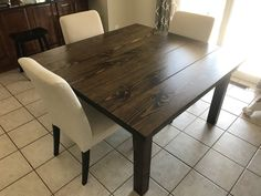 A traditional top gives this Square Farmhouse Table a rustic touch. Click to customize your solid wood square table on our website and give your home a modern farmhouse update!  Home Decor, Rustic, Farmhouse, Interior Decor, Farmhouse Style, Rustic Home, Square Table Farmhouse Interior, Farmhouse Table, Rustic Farmhouse, Wood Square, Square Tables, Solid Wood Furniture, Interior Decorating, Dining Table, Touch