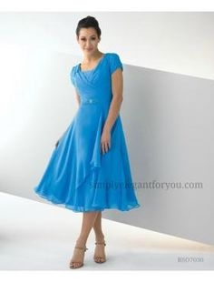 eeba235fa16 Fall 2013 Season!  Modest Dress with pleated cap sleeves! Tea Length  Dresses