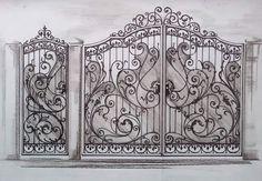 Pergola With Retractable Canopy Code: 2223796844 Steel Gate Design, Front Gate Design, Main Gate Design, House Gate Design, Door Gate Design, Metal Gates, Wrought Iron Doors, Iron Garden Gates, Gates And Railings