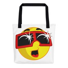 """Tote Bag: """"EMOJI w ECLIPSE GLASSES"""" PATH of TOTALITY Solar Eclipse August 21, 2017"""