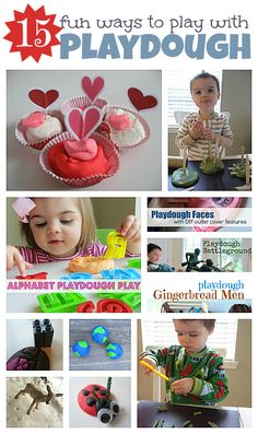 15 fun ways to make regular playdough play extra special. *** Has links to great playdough recipes including a GLUTEN FREE one that rocks.  ***