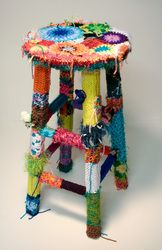 Yarn Bombed Chair/Stool! Look at the little crocheted mushrooms on the left side!