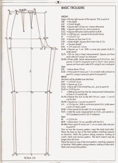 how to draft pants pattern- Joy! Previous pinner: I've been looking for something like this, I lost mine from the stanley school of dressmaking circa 1982 byeasy fitting pant drafting g pant draftEl alfabeto de la costura de alejandro timofeeva la co Pattern Drafting Tutorials, Easy Sewing Patterns, Clothing Patterns, Shirt Patterns, Dress Patterns, Tutorial Sewing, Bodice Pattern, Jacket Pattern, Techniques Couture