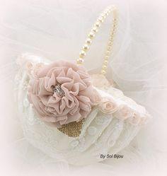 Flower Girl Basket Ivory Cream Blush Elegant Wedding by SolBijou
