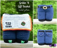 Grillin' It Gift Basket crochet pattern from Blackstone Designs. Perfect for Father's Day or BBQ get-together!