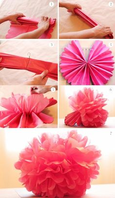 große rosa blume aus papier falten, draht, papierblume