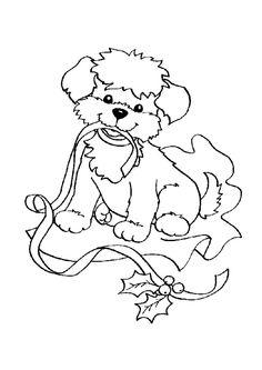 Ce mignon petit chien vient de sortir de son paquet cadeau, dessin à colorier