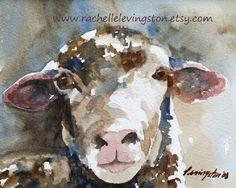 Shabby Chic Farm Sheep PRINT Large 11 x14 by rachellelevingston, $25.00