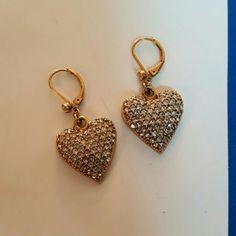 Betsey johnson earrings Small drop heart earrings with faux diamonds Betsey Johnson Jewelry Earrings