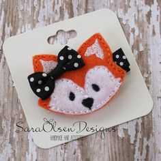 Fox Hair Clip Orange Black White Embroidered by SaraOlsenDesigns, $3.75