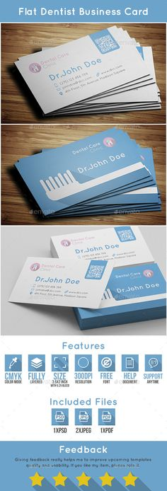 Dentist Business Card Template #design Download: http://graphicriver.net/item/dentist-business-card/10585819?ref=ksioks