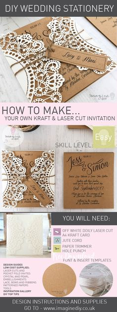 Make this gorgeous DIY wedding invitation with instructions and supplies available at Imagine DIY.