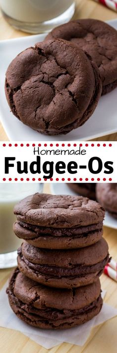 These homemade Fudgee-O cookies are extra soft, super chocolate-y, and seriously addictive. It's an easy chocolate cake mix cookie recipe, then they're sandwiched creamy chocolate frosting. #cakemix #cookies #chocolatecookies #fudgeeos #copycatrecipe #recipes #chocolate #doublechocolate